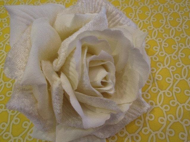 Бархатная роза - Кот белый - Дамских, Измененные Couture, волос Цветы, Шелковый