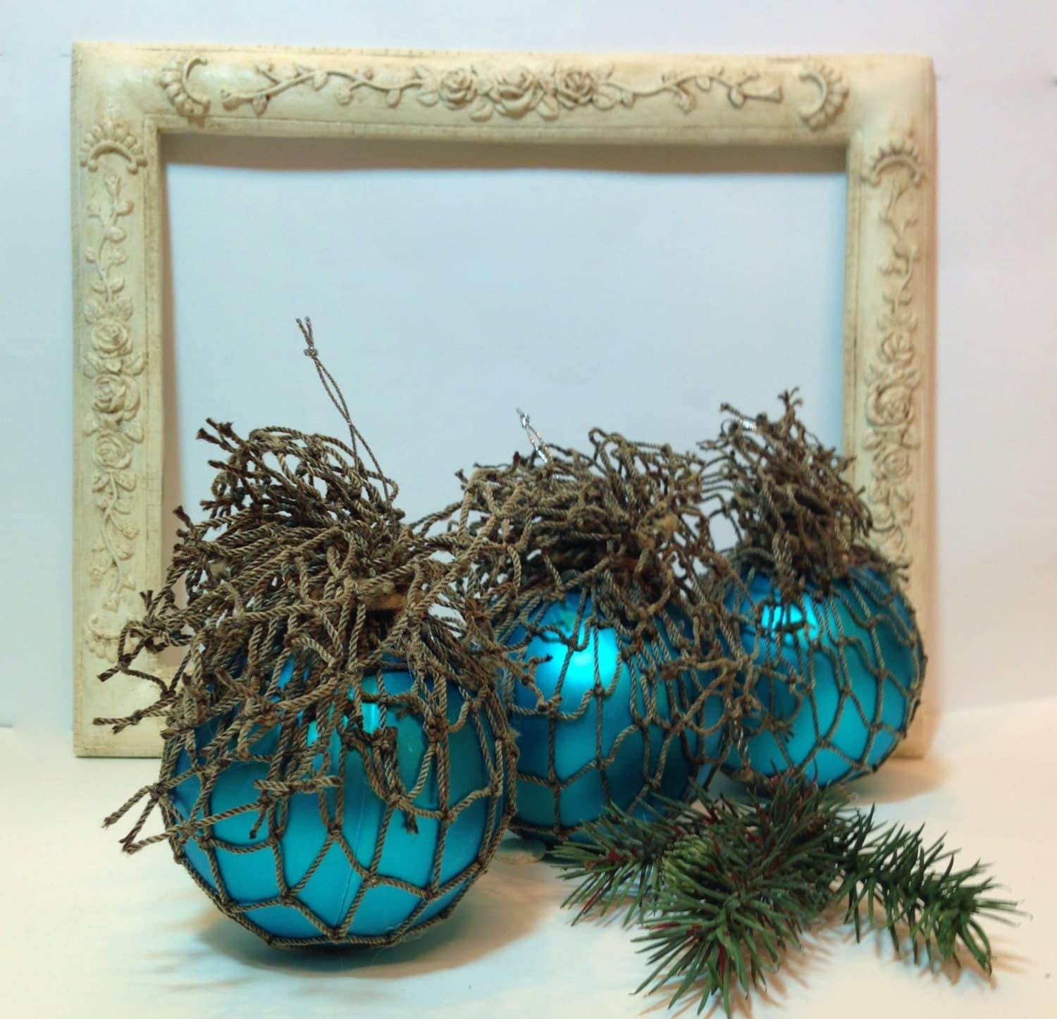 Nautical Christmas Tree Ornaments in Turquoise Blue Seaside Inspired Christmas Decor, Beach Decor - northandsouthshabby
