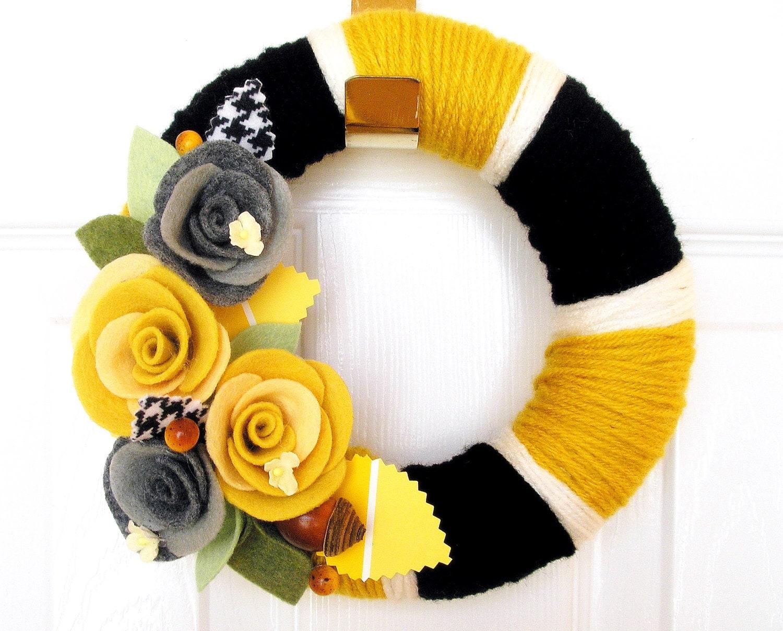 10 inch Mustard Paint Chip- The Original Felt Yarn Wreath