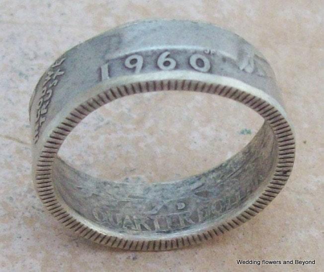 silver coin ring 1960 washington quarter 90 by