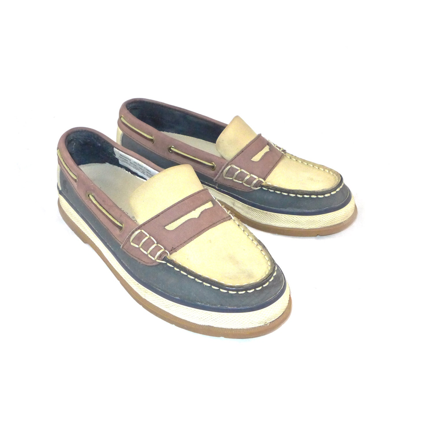 Bass vintage ivory / tan / navy blue boat shoes - thick leather