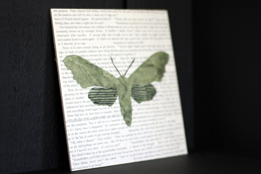 "Specimen No. 2: Moth Collage Over Vintage Book Pages on an 8"" x 8"" Birch Panel, Ready to Hang Moth Art, ButterFly Art, Insect Art - FiddleheadsForFiona"