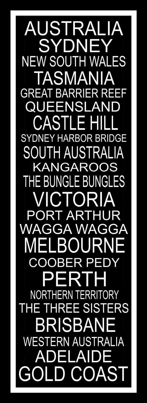 Subway Sign Art  Australia Typography Print  11.75x36