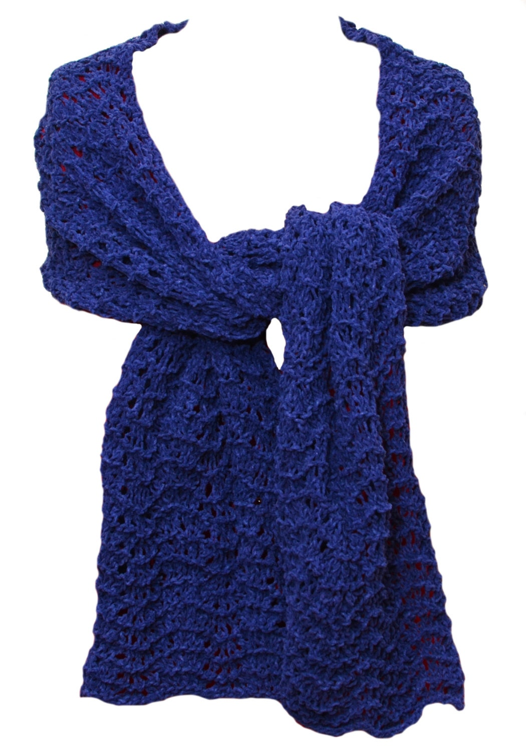 Knit Shawl or Scarf Blue Cotton Chenille by ...