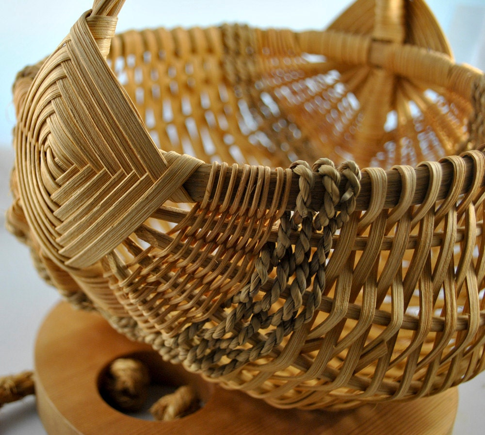 Antique Woven Egg Basket : Vintage egg basket hand woven by whositsandwhatnots on etsy