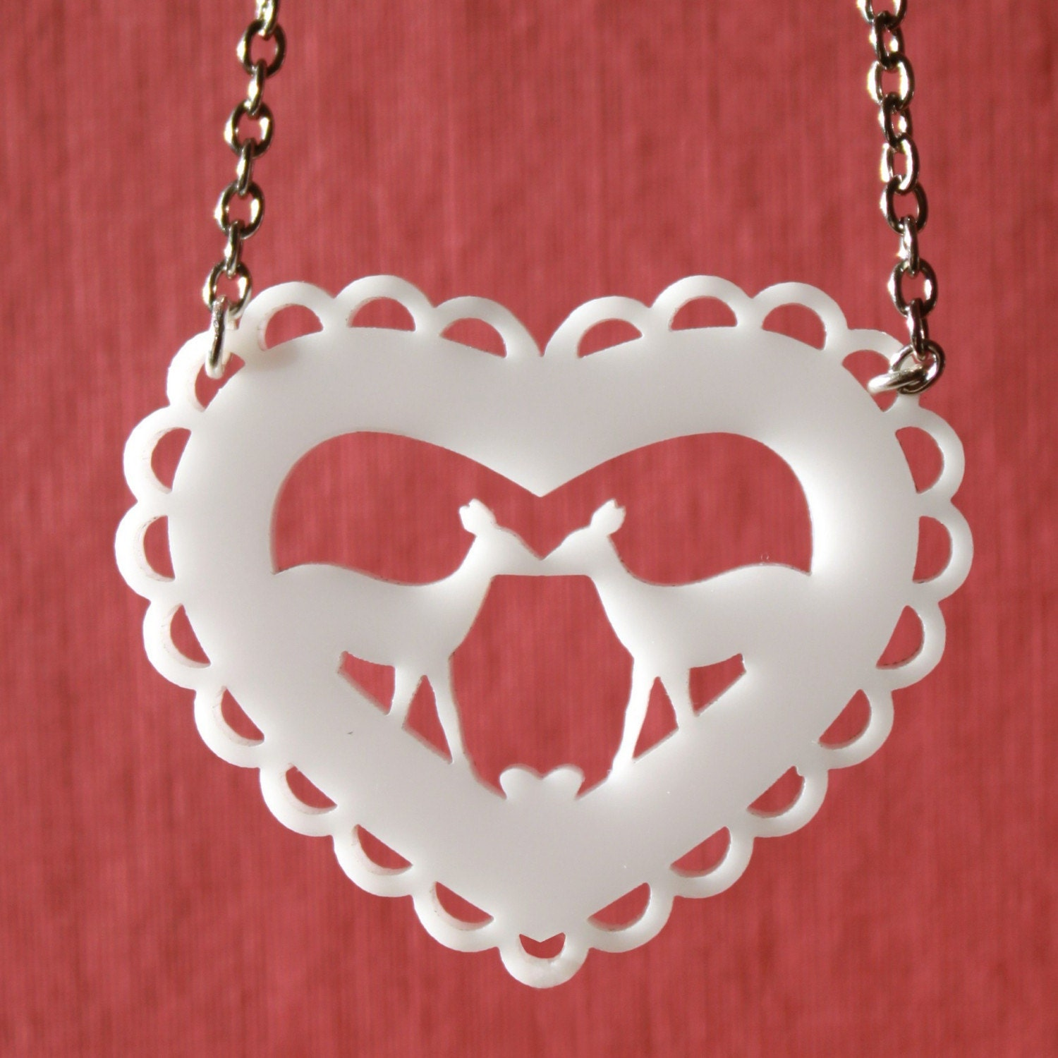Kissing Deer - Modern Heart Necklace in White