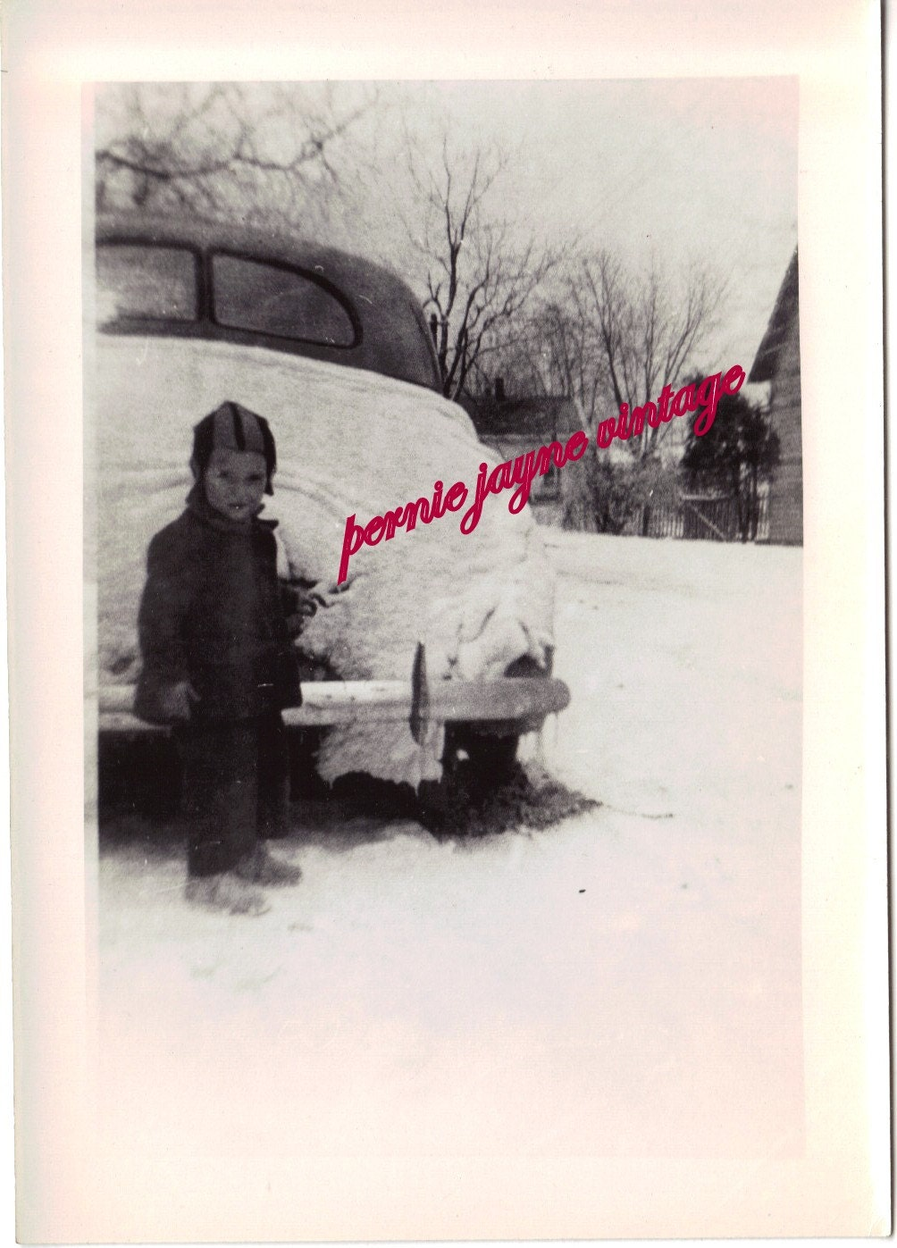 in Snow by Old Car Photo
