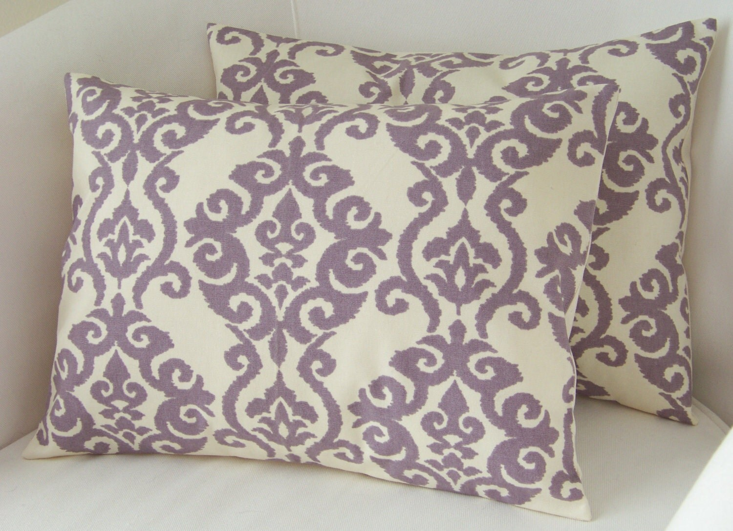 lilac purple pillow covers set of two lumbar pillows by