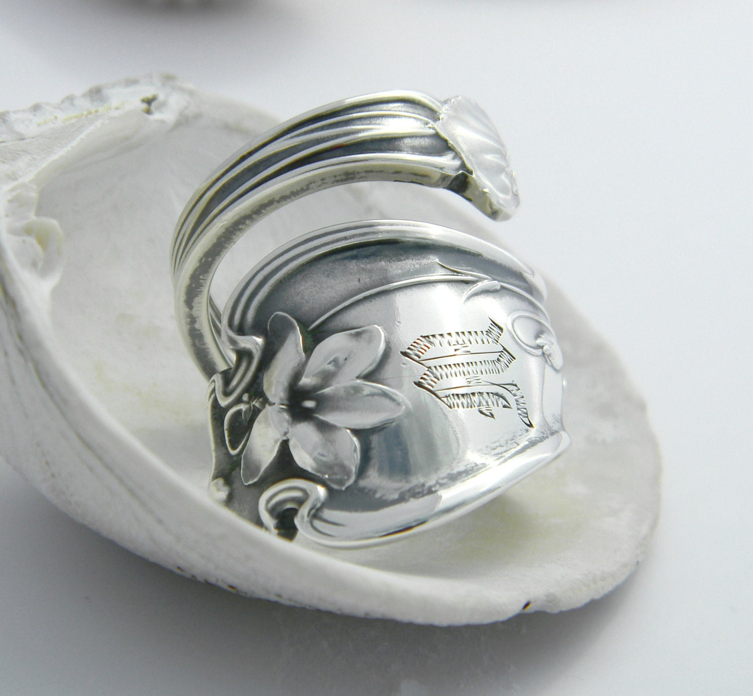 sterling silver spoon ring floral with m by