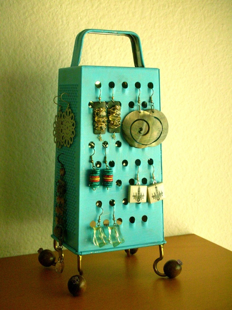 Kitchen grater turns into an earring holder,  fun up cycled surrealistic style object,turquoise