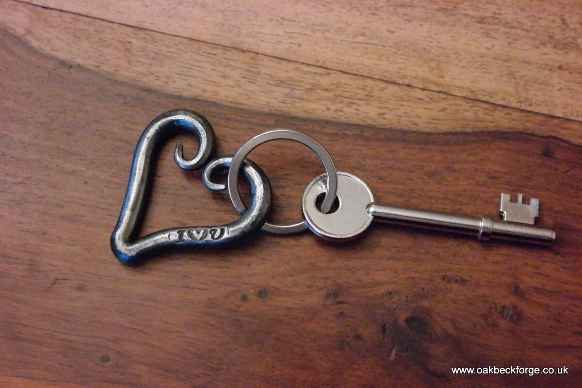 Key Ring  Heart I Love U  Valentines Day  Wedding  Anniversary  Blacksmith Hand Forged