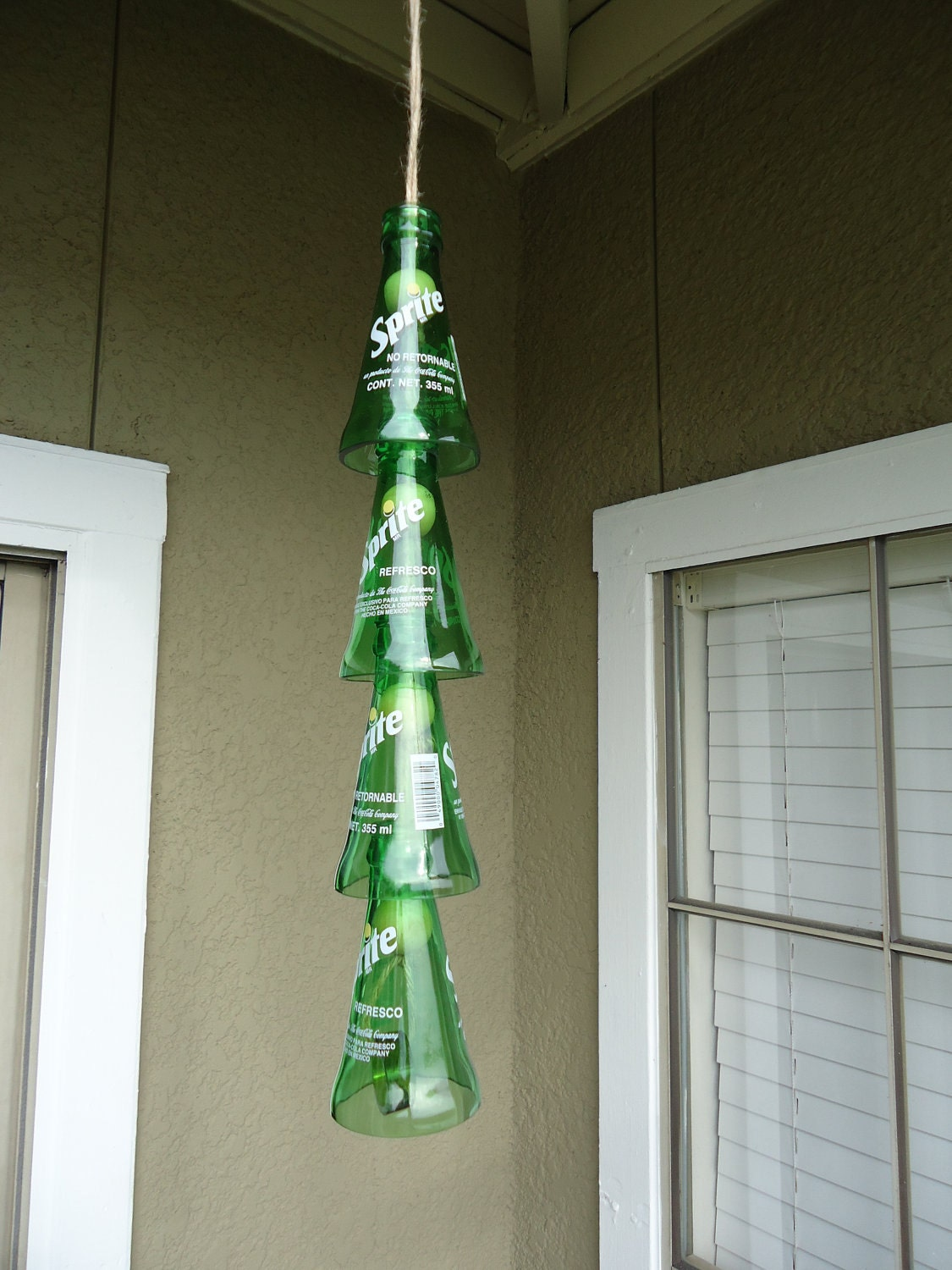 Unavailable listing on etsy for Glass bottle wind chimes