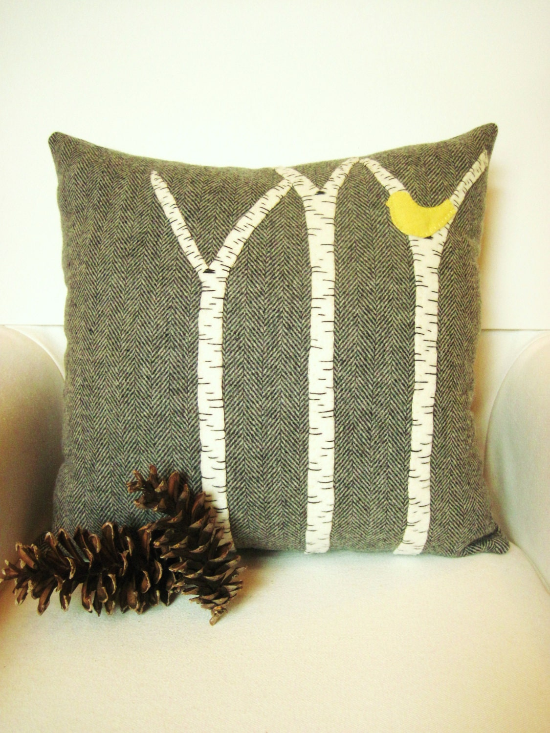 Decorative Throw Pillow / Birch Tree Pillow / Wool Pillow / Rustic Cabin Pillow / Gray Pillow  / Yellow, Red, Blue Bird - AwayUpNorth