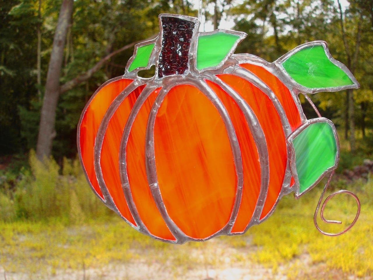 Pumpkin, stained glass suncatcher