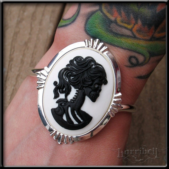 Black and White Day of the Dead Goddess Cameo BRACELET