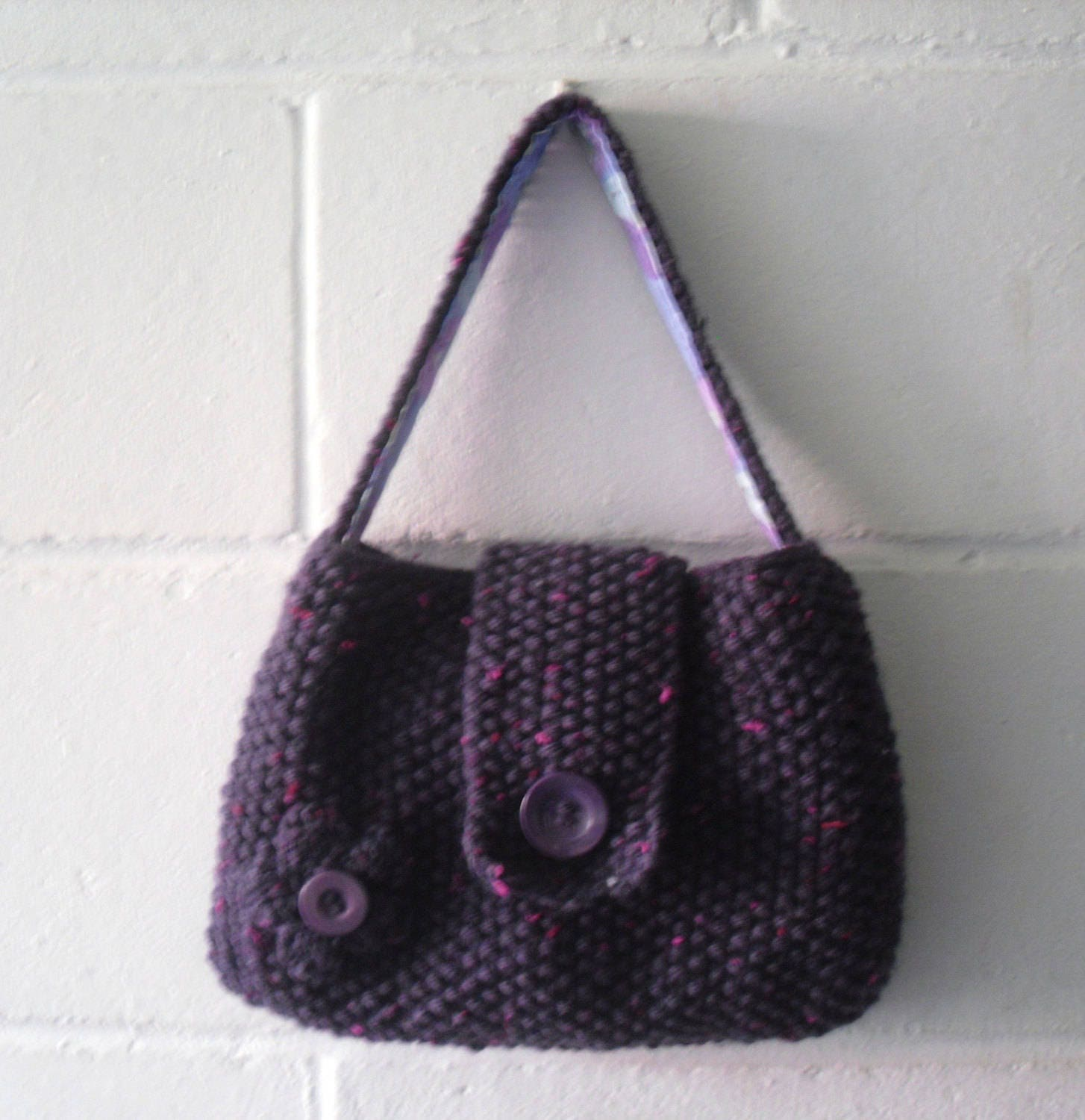 Hand Knitted Bag Small Purple Evening Bag