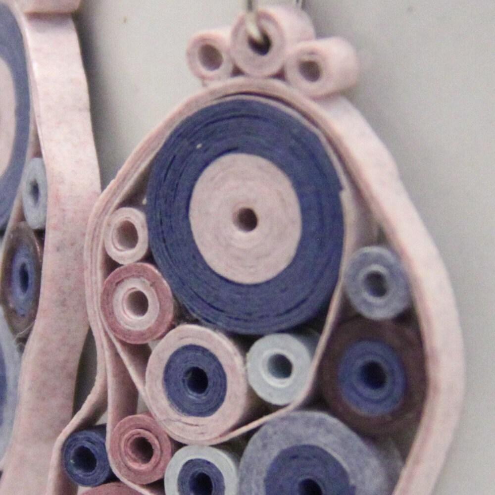 Nhật Bản viện trợ cứu trợ hồng và xanh Retro Circles giấy Quilled Bông tai