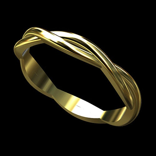 solid 14k gold infinity twisted wedding band ring by orospot