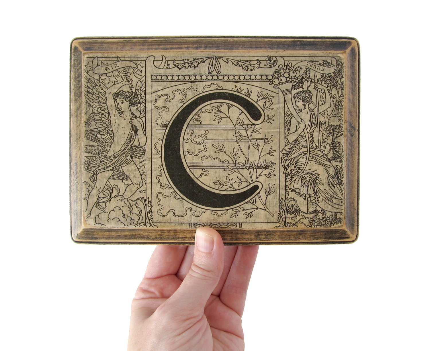 The letter c monogram plaque 1922 french dictionary by for Letter plaques