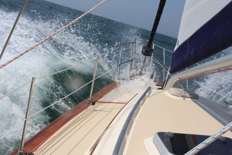 Sailboat Photo - Sailing The Ruff Seas on a Beautiful Day - 5x7