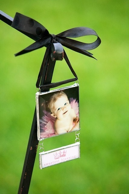 Custom Photograph Ornament with Attached Drop Down Personalized Pendant perfect for new baby and wedding gifts...3 inch with hang tag