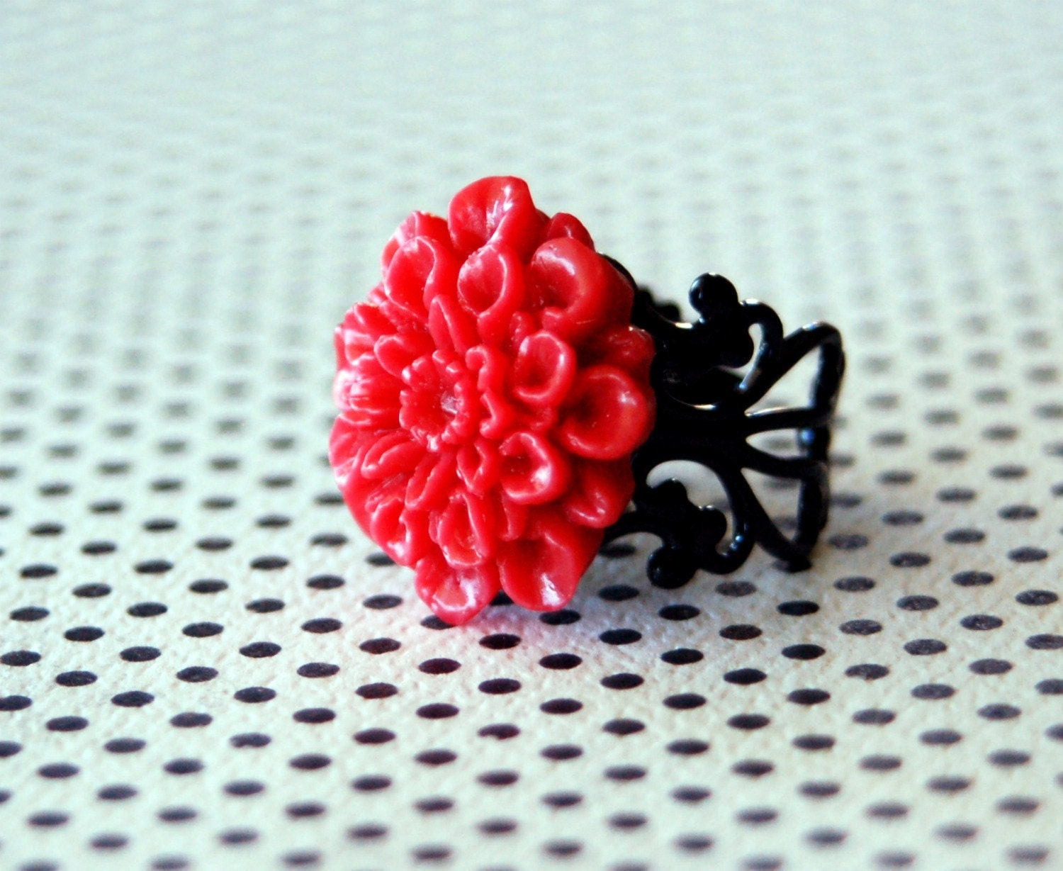 Red Mum Cab Filigree Ring on Black Base- Adjustable