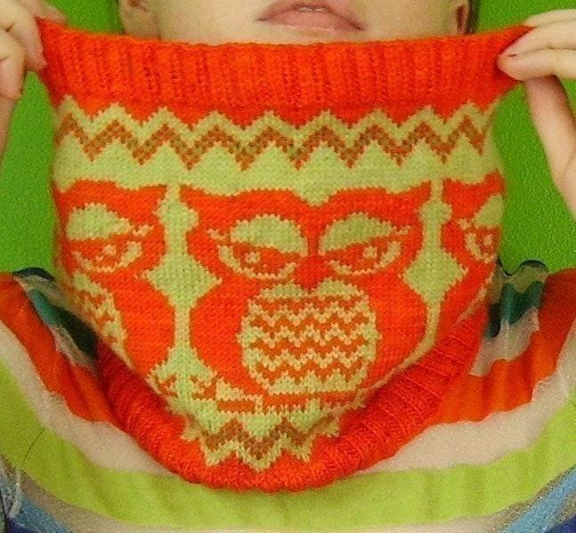 Owl Cowl Knitting Pattern : PDF Knitting Pattern the Fair Isle Owlie Cowl by elf518 on Etsy