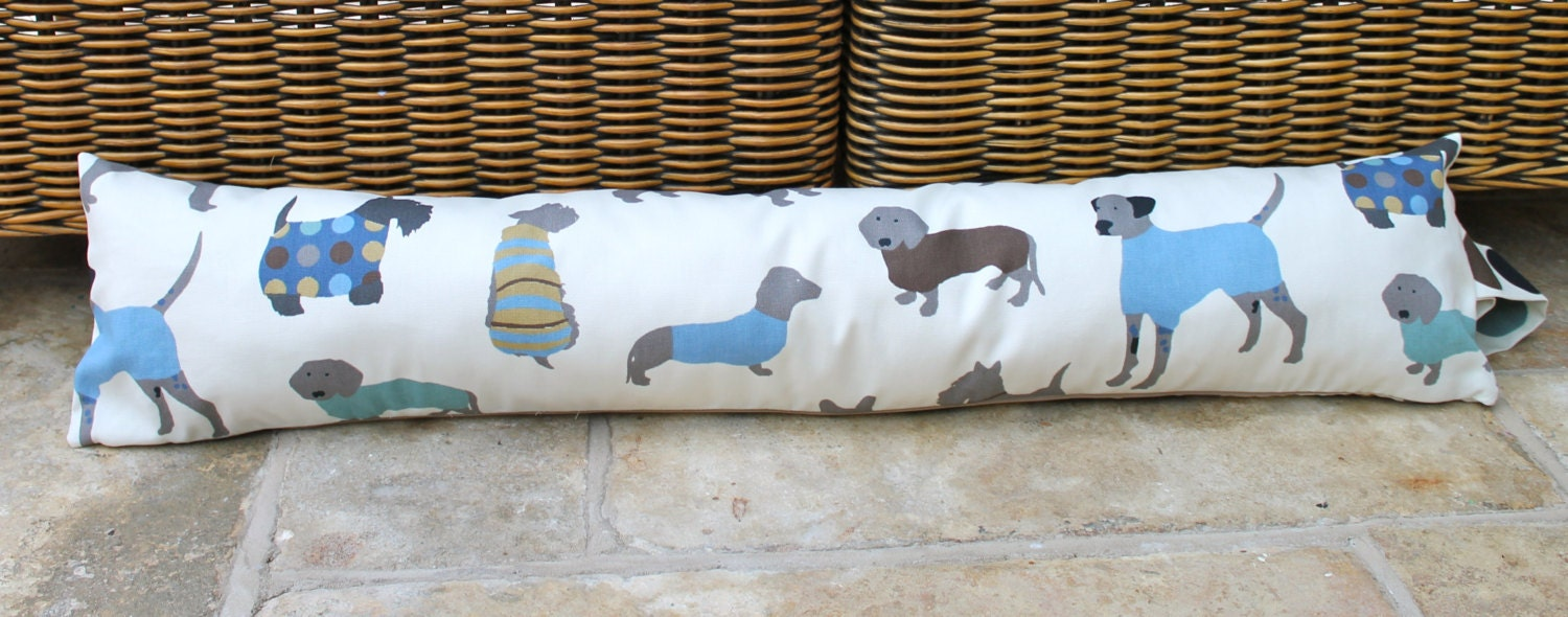 Draught excluder removeable cover dog duck egg blue cream grey