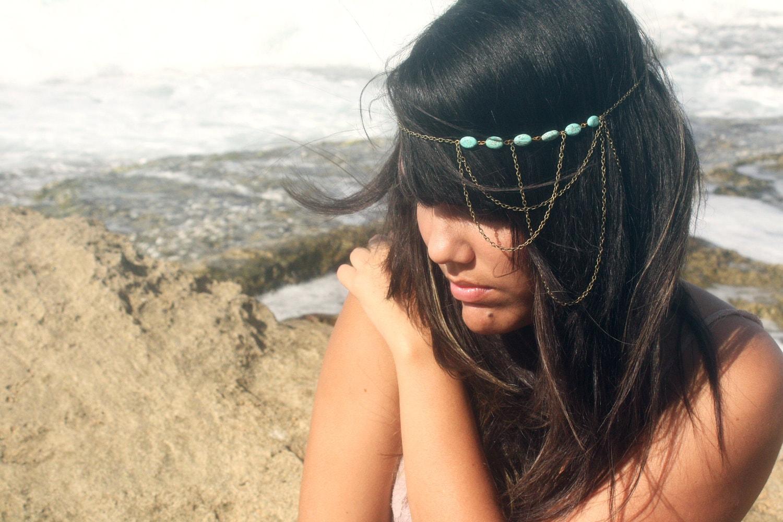 Chain Headpiece Headband  Bohemian Hipster Boho Hippie Bronze Turquoise Three Draped Bridal Statement Jewelry