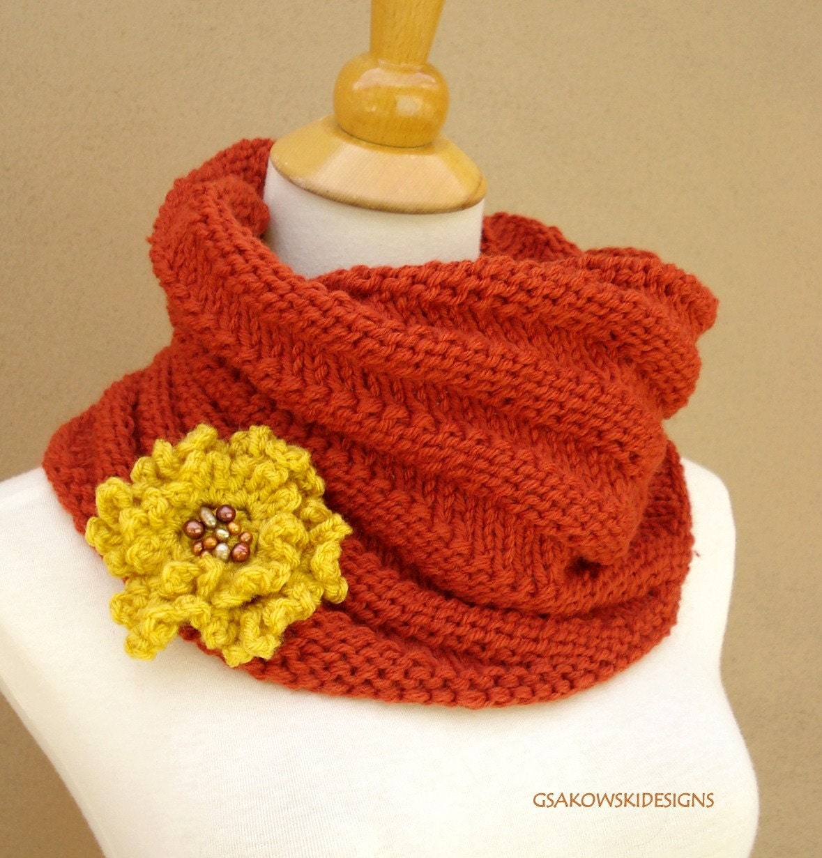 Cecily Chunky Cowl-Terracotta