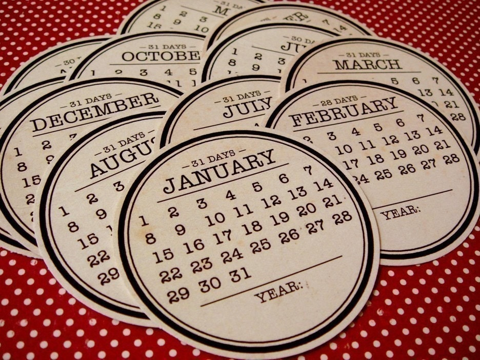 No Year Calendar Tags  Set of 12 circles  Vintage by elles on Etsy from etsy.com