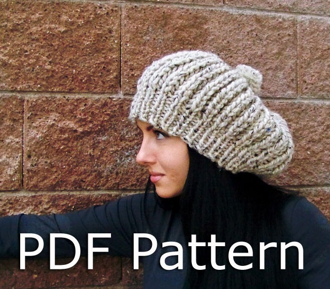 Slouchy Beanie Knitting Pattern : Knitting PATTERN Slouchy Slouch Beanie Pattern by natalya1905