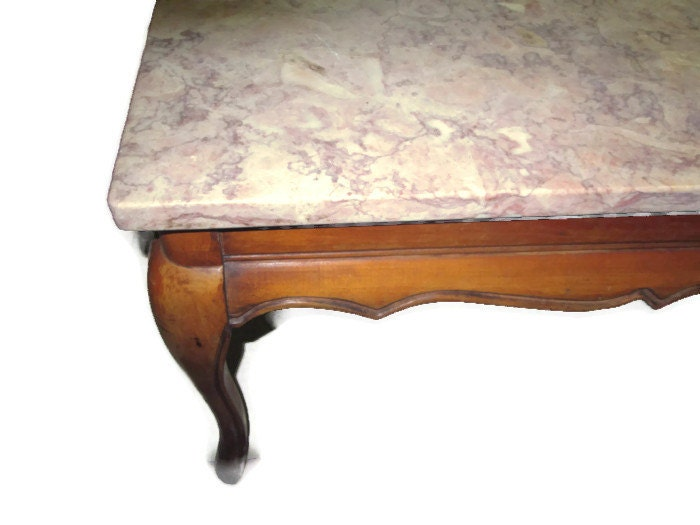 Vintage Marble Top Coffee Table Vintage Furniture Hand Crafted Wood