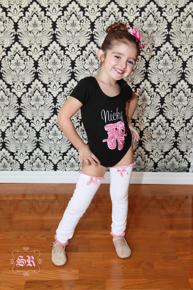 Little Miss Dance Diva Ballet Bling Shoes Personalized Leotard