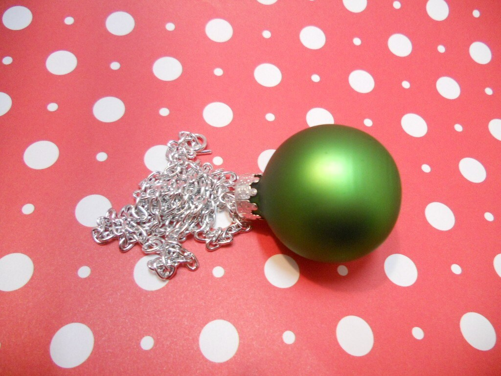 Green Christmas Ornament Necklace
