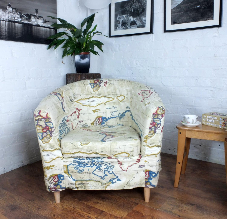 Ikea Tullsta Tub Chair Cover in Antique Atlas Cotton Fabric