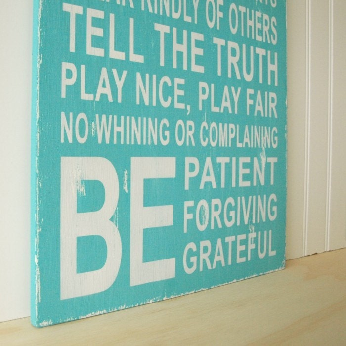 Aqua Family Rules Sign. Be Patient, Do Your Best, No Whining. Vintage Style Wood Sign.