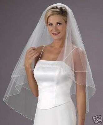 DIAMOND WHITE  2 Tier Fingertip Bridal Wedding Veil Center Gathered / Butterfly Style finished with a delicate pencil edge.