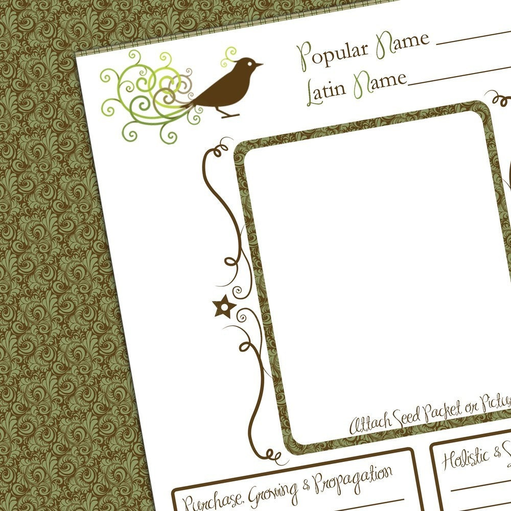 Printable Garden Journal Page Plant Notes by shellberry on