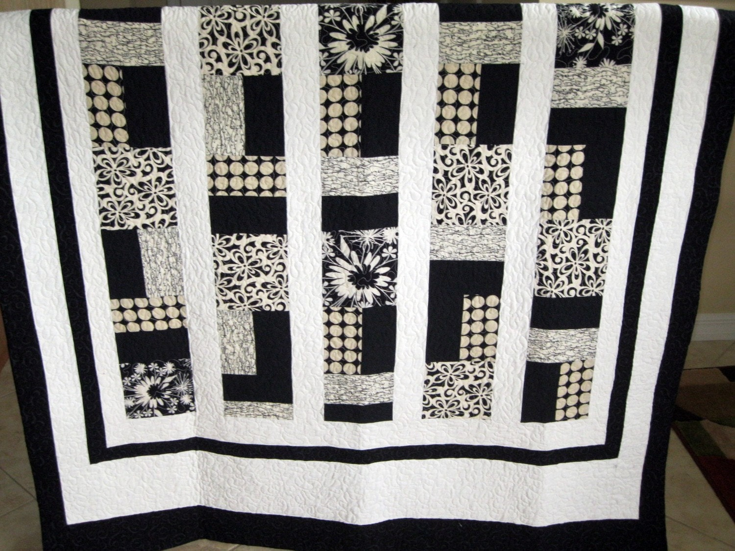 White/Cream/Black - Modern/Contemporary Lap Quilt