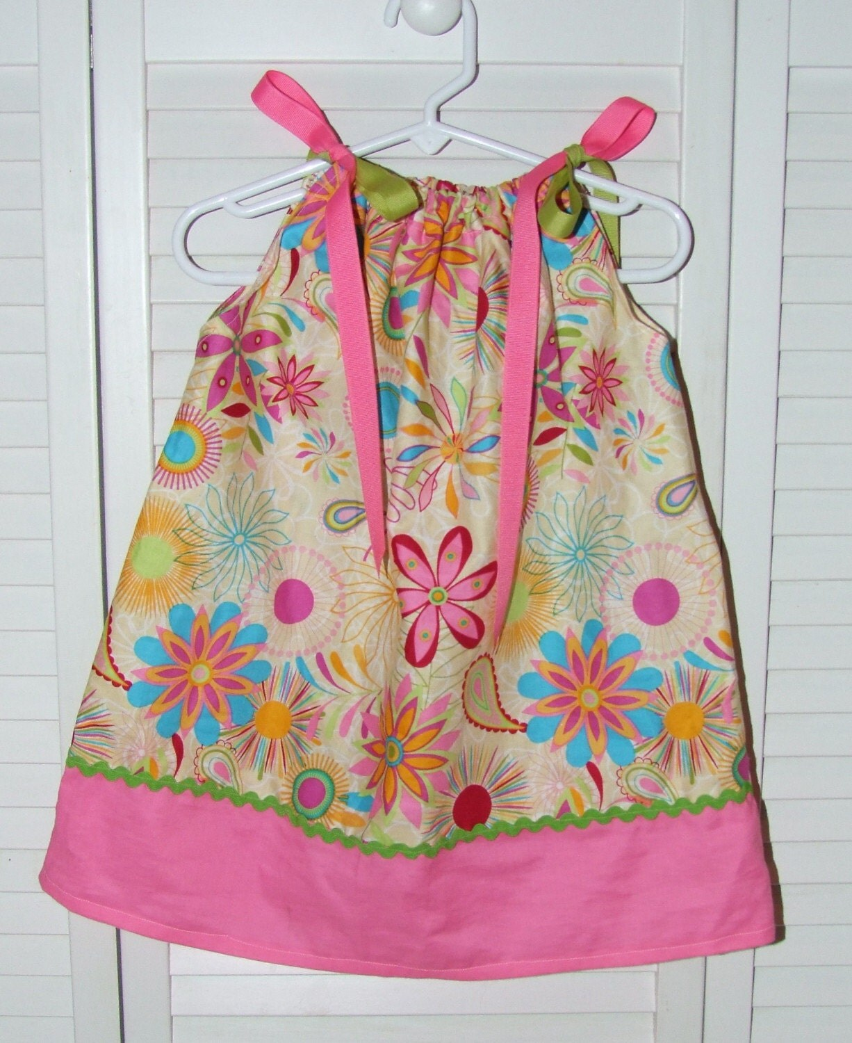 Yellow flowers/hot pink pillowcase dress size 2T/24 months READY TO SHIP