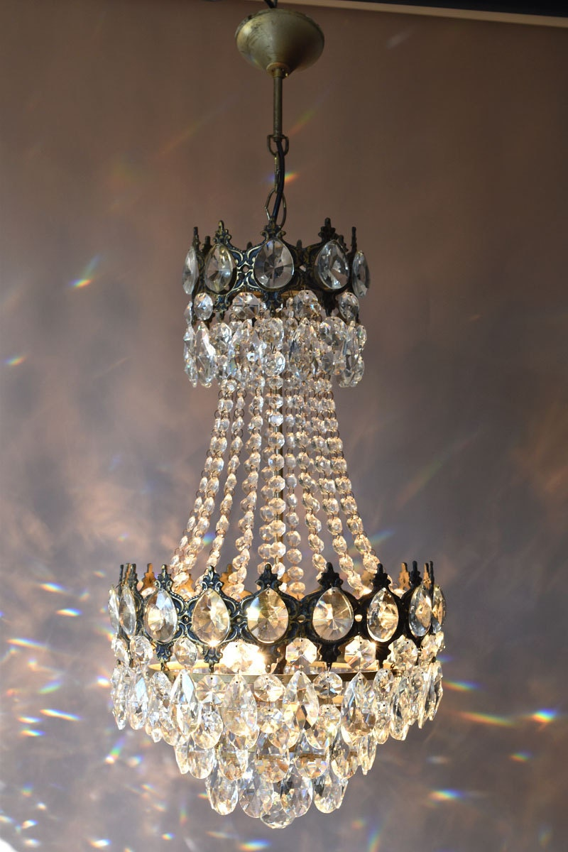 Empire Waterfall Brass 1950s Lighting Home Living Antique Pendant French Vintage Glass Crystal Chandelier Lamp Lighting Ceiling Old Fixture