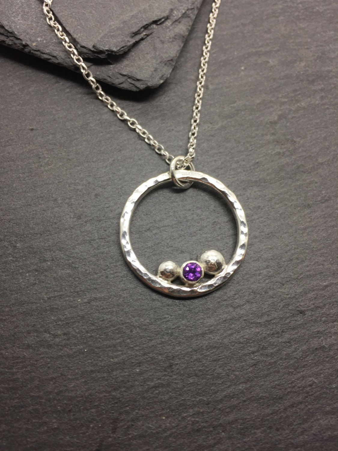 Amethyst Sterling Silver Circle Necklace Hammered Amethyst Silver Pendant Silver and Amethyst Necklace on Chain February Birthstone