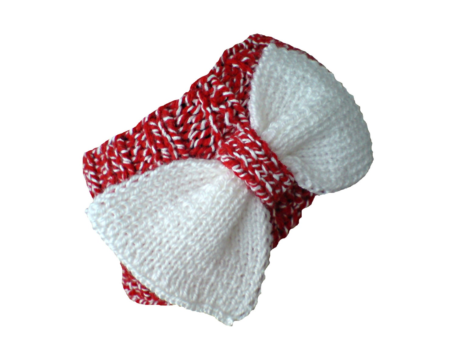 Knit ear warmer, ribbed, with a big bow. Red and white. - woolopia