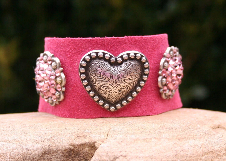 Pink Cuff / Suede Cuff / Heart Cuff / Swarovski Cuff / Love Romantic / Boho / Pewter Cuff - MissieRabdau
