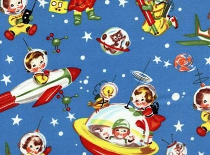 Items similar to retro rocket rascals space kids fabric for Vintage space fabric