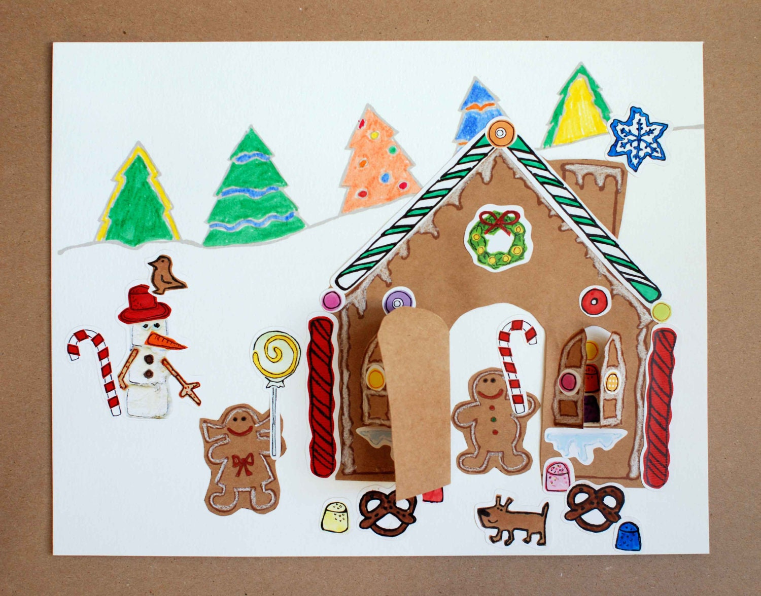 Christmas Craft Kit, Gingerbread House Paper Craft Kit for Kids, a Peekaboo House sticker collage kit for kids 5 & up - CandyandPaper
