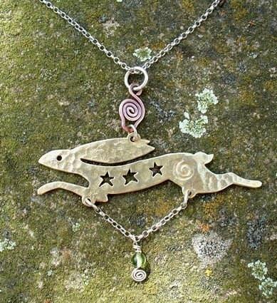 Ancient  Celestial Hare Pendant  squareHare UK,  EtsyFree Shipping, Vegan