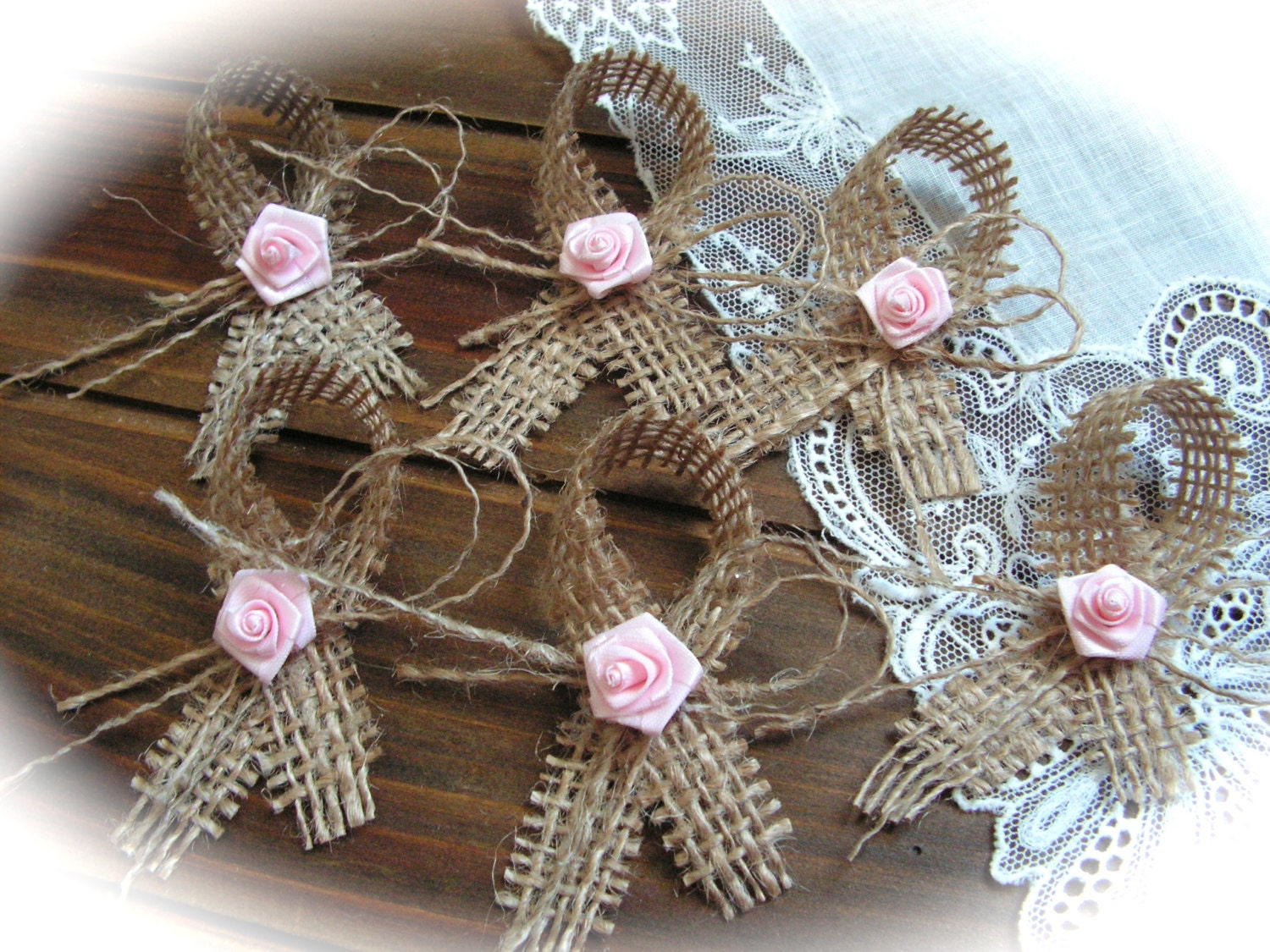 Small Burlap Bows- Wedding Decoration, set of 6.