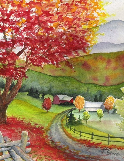 Autumn Road - Matted Print from Original Watercolor - 8x10in.